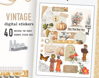 Digital planner stickers,Vintage Fall stickers,craft paper,Junk journal digital stickers,goodnotes,xodo planner stickers,digi bujo sticker