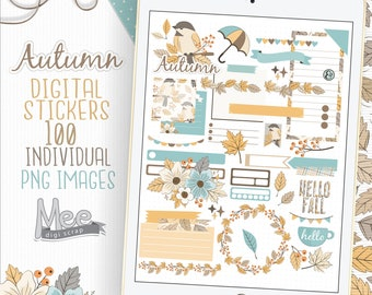 Autumn digital planner stickers for use with digital planner,goodnotes stickers,One note,Xodo,fall planner stickers,sticker instant download