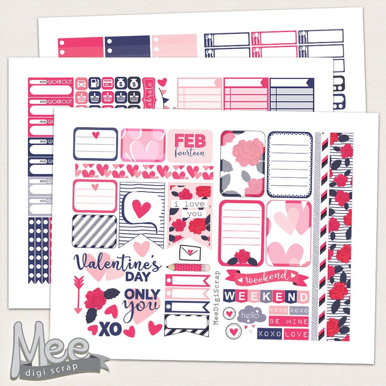 image relating to Happy Planner Stickers Printable named Valentines working day stickers printable planner stickers for employ the service of with cl satisfied planner,February stickers package,planner printable,electronic sticker