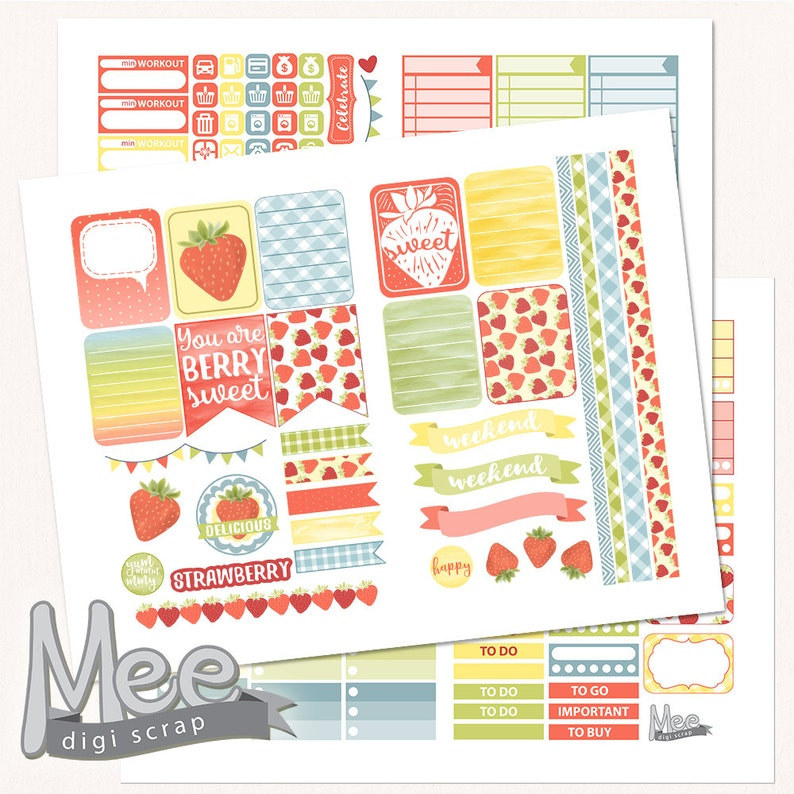 Strawberry planner stickersprintable  stickers for use with image 0