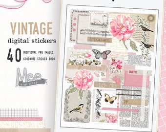 Floral junk journal digital stickers,digital planner stickers,goodnotes stickers,pink florals digi bujo stickers,vintage sticker,png clipart