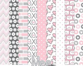Sweet Love digital papers,digital scrapbooking papers,Valentine's Digital papers,pink,grey,love letters,heart,arrows,printable paper