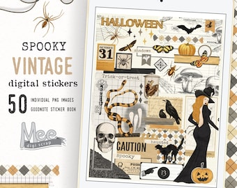 Digital planner stickers,vintage ephemera for junk journal,art journal,digi bujo,iPad planner,scrapbook planner.Halloween,october spooky set