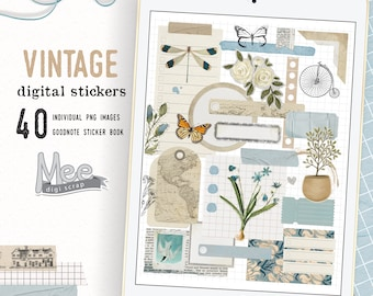 Digital planner stickers,craft paper sticky notes,Junk journal digital stickers, Vintage,goodnotes,xodo planner stickers,digi bujo sticker