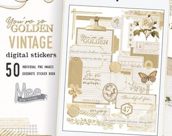 Digital journal stickers, vintage gold, craft paper planner set for use with digital bujo, art journal, junk journal  on Ipad,goodnotes,xodo