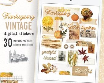 Digital planner stickers mini vintage Thanksgiving set,digital bujo,art journal,junk jornal stickers for use on Ipad,goodnotes,xodo