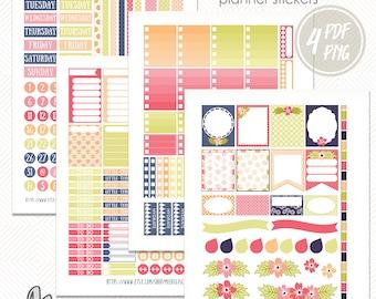 Printable planner stickers Flowers,EClp stickers, spring stickers,Floral stickers planner,digital planner stickers kit,March stickers