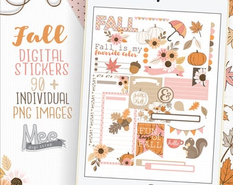 Fall planner stickers for goodnotes or similar apps,digital planner stickers,autumn stickers,floral fall,digi bujo,xodo,one note,download