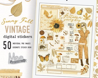 Sunny autumn Digital planner stickers,vintage  fall junk journal ephemera,aesthetic stickers,Digi bujo for iPad planners or goodnote planner