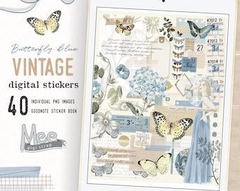 Butterfly digital planner stickers,blue fall vintage ephemera for junk journaling,digital bujo,vintage planner stickers,scrapbooking clipart