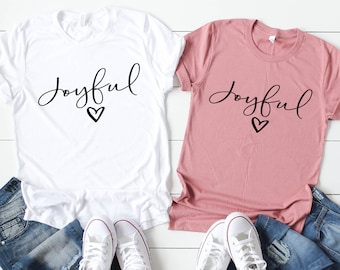 bc180b8a Joyful Heart Graphic Tee - Inspirational T-shirt - Short Sleeve Shirt -  Christian T-shirt - Boutique Tee - Plus Size Clothing - Choose Joy