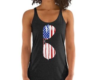 f66aaaf289a14 American Flag Sunglasses Racerback Tank Top