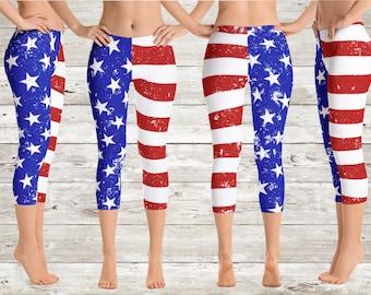 274c8d2657d7a Stars & Stripes American Flag Capri Yoga Pants/Leggings,4th of July Clothing,Women's  Leggings,Yoga Pants,Patriotic Clothing,Flag Leggings