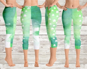 2edc15da57 Green Shamrock Capri Leggings - St. Patrick's Day Yoga Leggings - Clover  Yoga Pants - Green Watercolor Workout Leggings - Lucky Shamrock