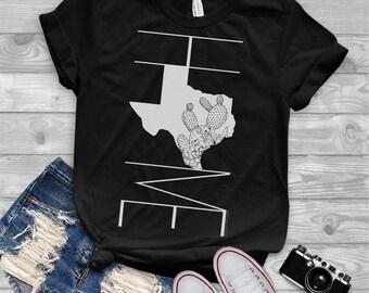 72bce765cea Texas Home Graphic Tee - Texas Cactus Short Sleeve Shirt - Texas Pride  Shirt - Cactus T-shirt - Succulent Shirt - State Pride Tee