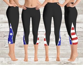 b415dc252aa Stars   Stripes American Flag Capri Yoga Pants Leggings
