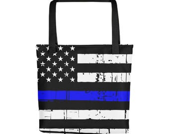 Semtomn Cotton Canvas Tote Bag Blue Line Police Thin Lives Matter Law Reusable Shoulder Grocery Shopping Bags Handbag Printed