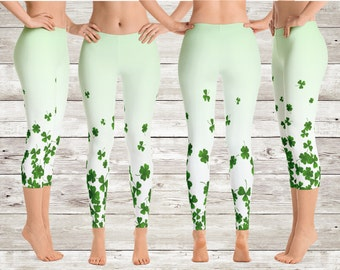 0b7d99b5a5 St. Patrick's Day Cascading Shamrock Leggings - Yoga Pants - Four Leaf Clover  Leggings - Green Yoga Leggings - Shamrock Workout Pants