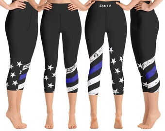 557475b90bcea Thin Blue Line Capri Leggings-Personalized Back the Blue Yoga Pants-Blue  Lives Matter-Thin Blue Line Workout Gear - Thin Blue Line Apparel