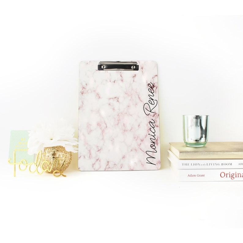 Personalized Rose Gold Marble Clipboard Back To School image 0