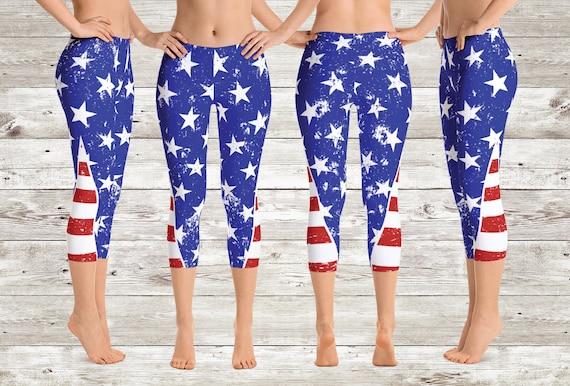 6661996214 Stars & Stripes American Flag Capri Yoga Pants/Leggings4th of | Etsy