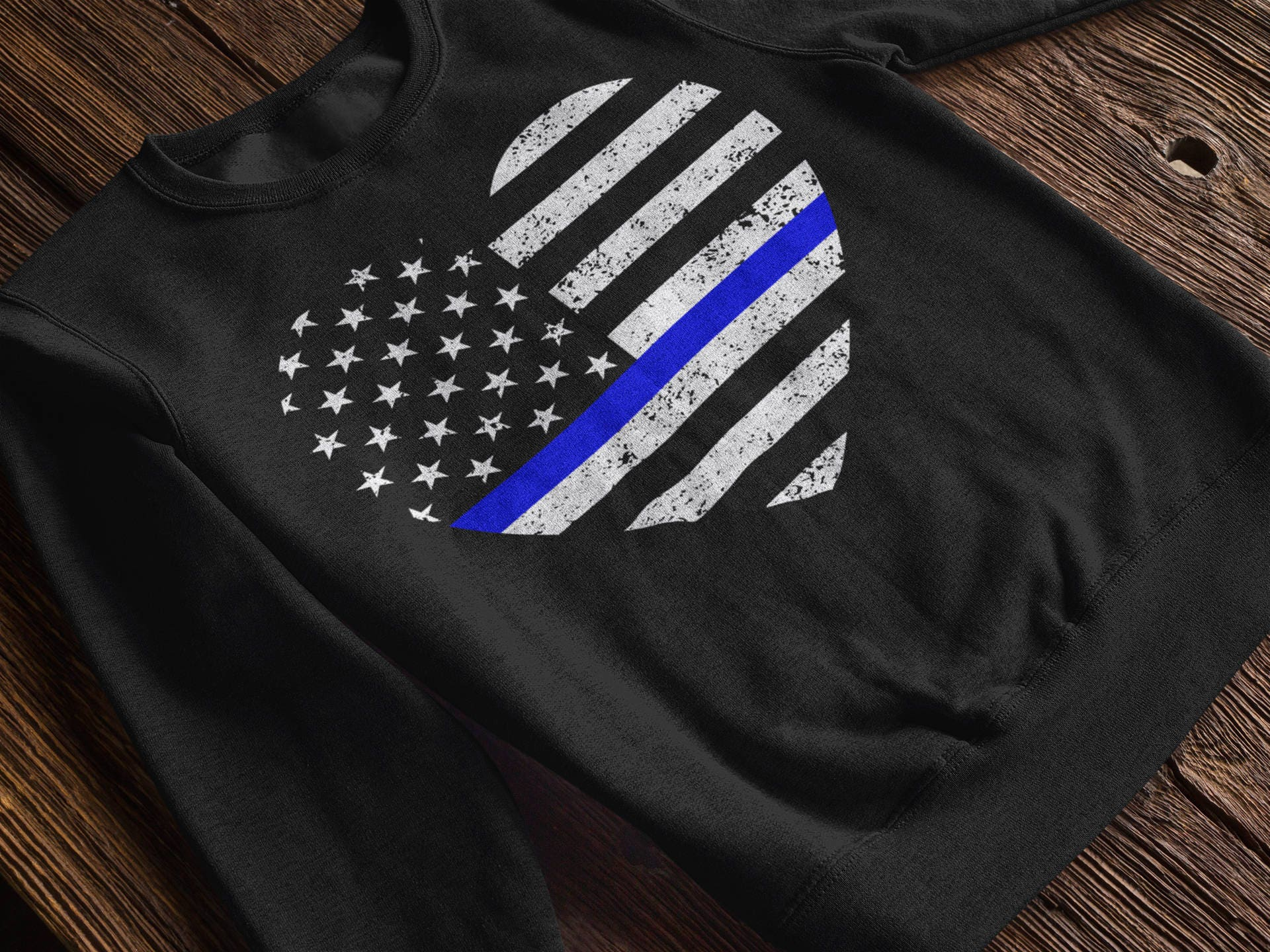 Thin Blue Line American Flag Heart Sweatshirt Back The Blue Clothing Blue Lives Matter Tops Police Officers Law Enforcement