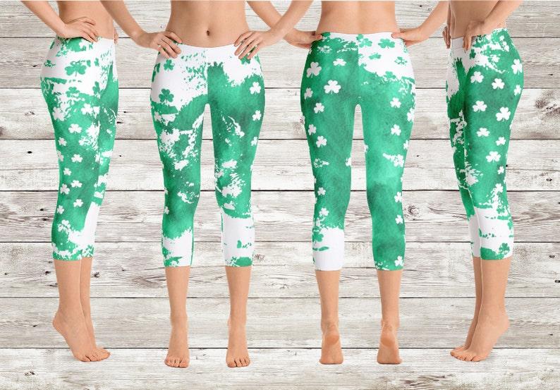 1d4f6129cc St. Patrick's Day Capri Leggings Shamrock Leggings | Etsy