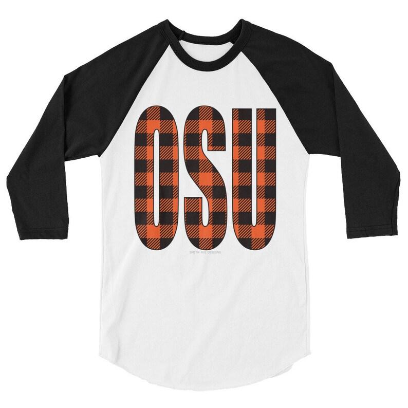 19e29883c8c Oklahoma State Plaid 3 4 Sleeve Raglan Shirt Orange Plaid