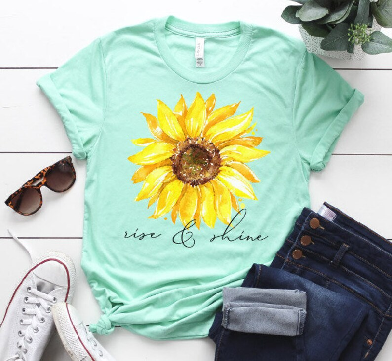 0001ebbdc Rise and Shine Sunflower Graphic Tee Christian Short-Sleeve   Etsy