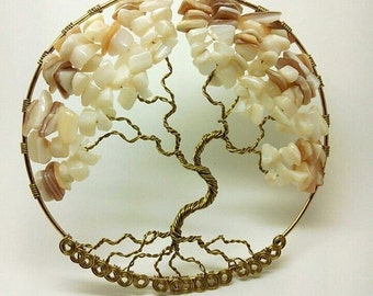 Tree of Life Pendant Decoration White Stone and Shell
