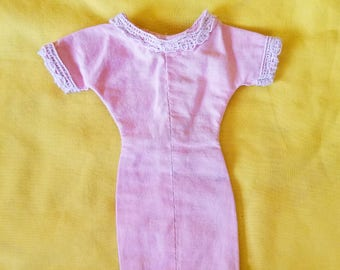 Vintage Mid-Century Handmade Barbie Wiggle Dress In Light Pink With White Lace Trim.