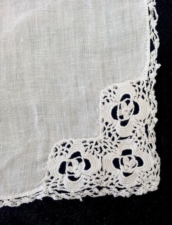 Pañuelo blanco vintage con bordes de ganchillo y encaje | Etsy