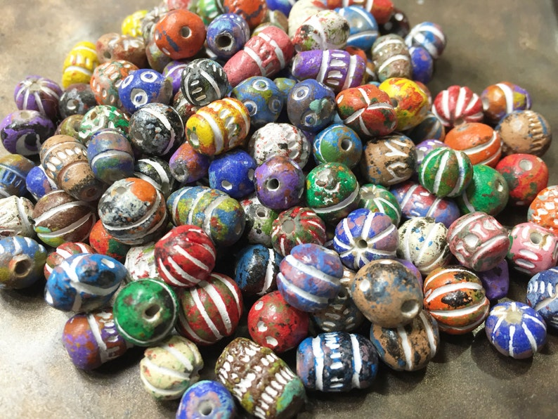 14 inches about 26 grams 26 grams Small Craved Clay Beads 5mm to 12mm stringing length Hand painted colorful to neutral tones