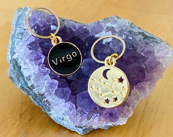 Virgo stitch markers   locking zodiac progress keepers   August birthday   September birthday   gifts for knitters   gifts for crocheters  