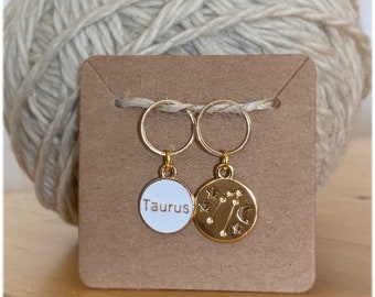 Taurus stitch markers   locking zodiac progress keepers   April birthday   May birthday   gifts for knitters   gifts for crocheters