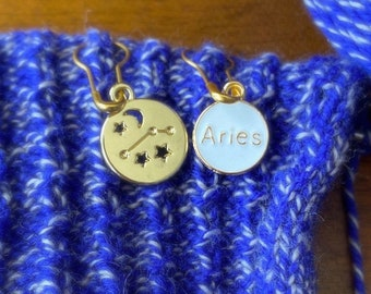 Aries stitch markers   locking zodiac progress keepers   April birthday   March birthday   gifts for knitters   gifts for crocheters