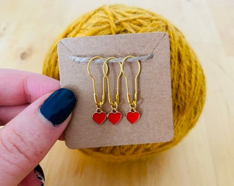Tiny hearts stitch marker set (3 markers)   knitting   crochet   progress keepers   gifts for knitters crocheters   Valentine's Day
