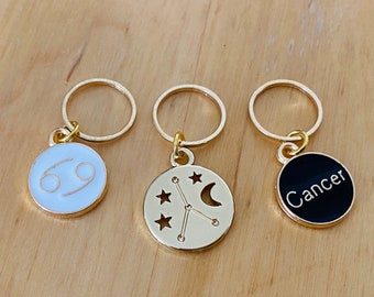 Cancer stitch markers   locking zodiac progress keepers   June birthday   July birthday   gifts for knitters   gifts for crocheters