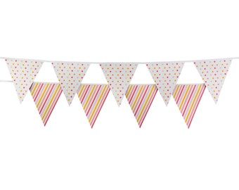 CLEARANCE! Pink and Coral Party Bunting - Double-Sided Colorful Garland from Sambellina - Polka Dots & Stripes in Summer Peach Shades