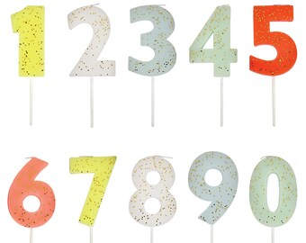 Number Birthday Candle, Gold Glitter, Pick Your Number