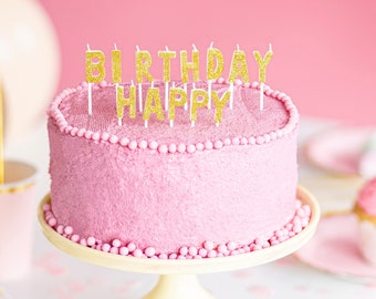 """Gold Happy Birthday Candles, Set of 13 Gold Glitter Mini Candles Spelling Out """"Happy Birthday,"""" Perfect for the Birthday Kid of Any Age!"""