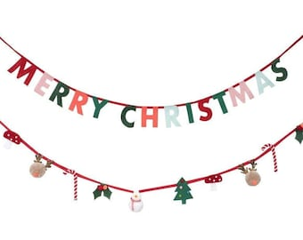 Christmas Felt Garland, Includes 2 Lengths of 8 Foot Ribbon with 26 Letter and Christmas Themed Pennants by Meri Meri