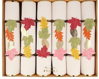 Thanksgiving Crackers, Set of 6 Meri Meri Fall Leaves Medium Crackers, Add to each Thanksgiving place setting!