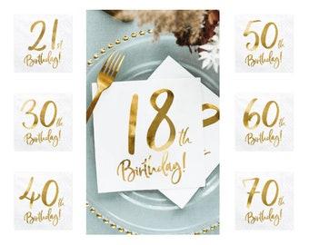 21st Birthday Rose Gold Text NapkinsMilestoneHello 21Paper Napkin Twenty OneDecorationsTableware Boy Girl Pack of 16Birthday Meal