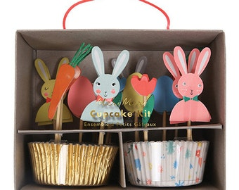 Easter Bunnies Cupcake Kit- Meri Meri Easter Cupcake Kit Includes 24 Cupcake Liners in 2  Styles and 24 Toppers in 12 designs