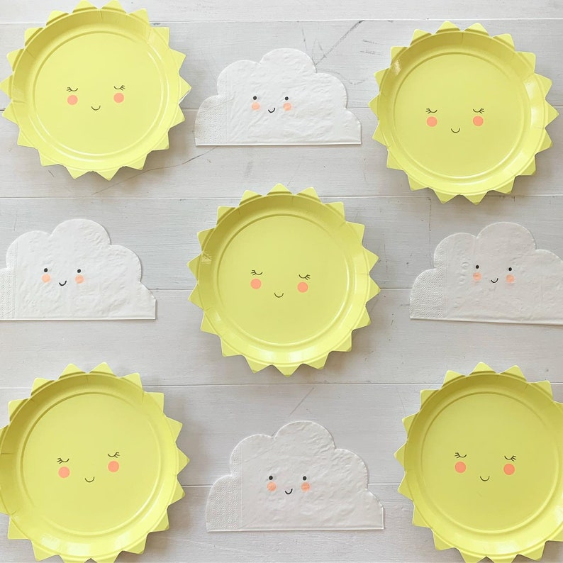 Sun Plates Set of 12 Meri Meri Small Sun Plates Adorable Plates for a Baby Shower or Birthday Party