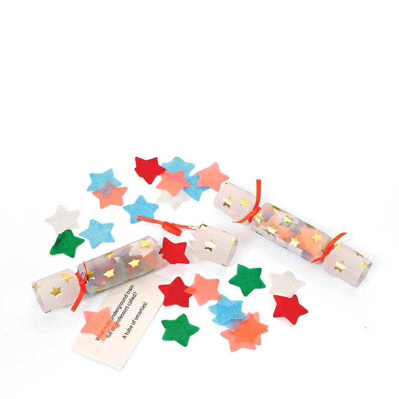 Great Favor for Christmas Parties or Twinkle Twinkle Birthday Parties! Gold Star Mini Crackers Set of 6 Meri Meri Tiny Confetti Crackers
