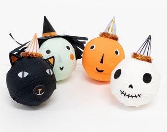Halloween Surprise Balls , Set of 4 Meri Meri Halloween Spooky Surprise Balls in 4 Styles, Includes Black Cat, Pumpkin, Skull, and Witch