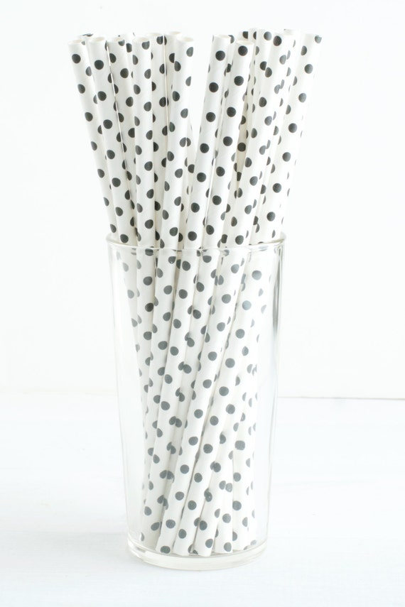 25 Black And White Polka Dot Straws Cute Touch To A Black And Etsy