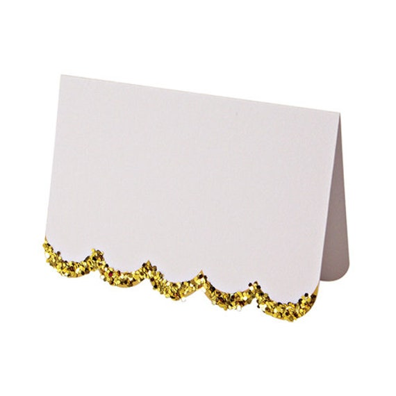 Gold Glittered Scallop Place Cards - Set of 10 Meri Meri White Name Cards -Add to each Thanksgiving place setting at your turkey day dinner!